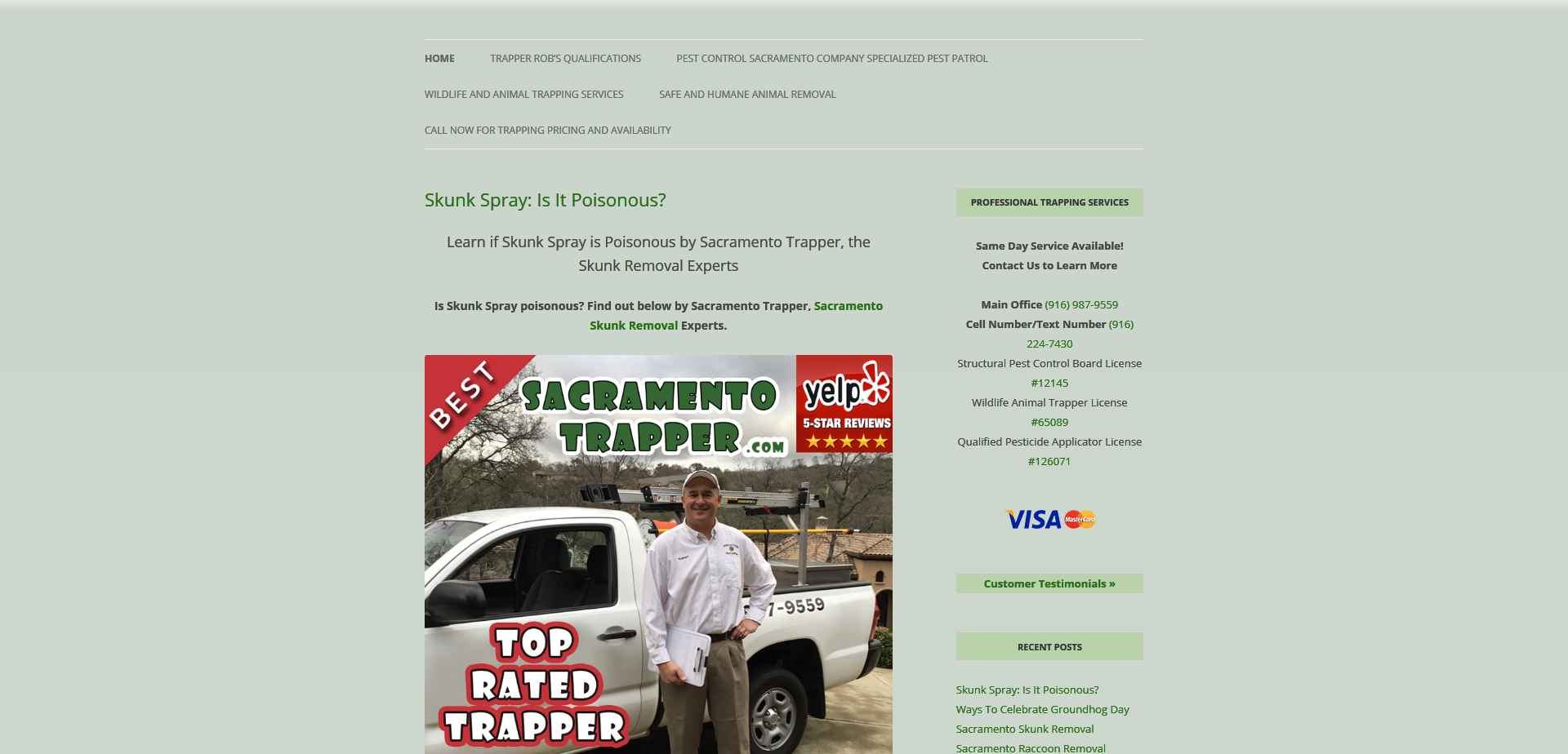 SEO Case Study: Google First Page Ranking for Sacramento Trapper using Our Advanced Local SEO Strategies Drives Their Revenue Up Record Numbers Year After Year